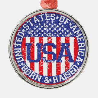 USA Born and Raised Christmas Tree Ornaments