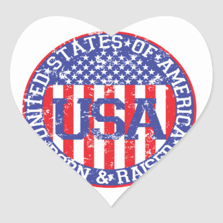 USA Born and Raised Heart Sticker