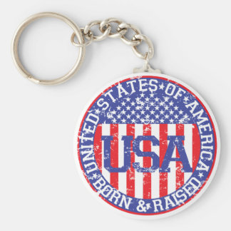 USA Born and Raised Keychain