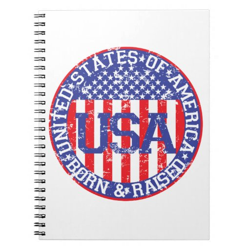 USA Born and Raised Spiral Notebook