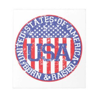 USA Born and Raised Memo Note Pad