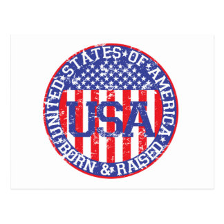 USA Born and Raised Postcard