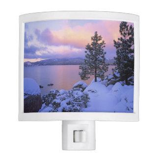 USA, California. A winter day at Lake Tahoe. Nite Lights