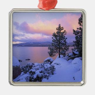 USA, California. A winter day at Lake Tahoe. Silver-Colored Square Decoration