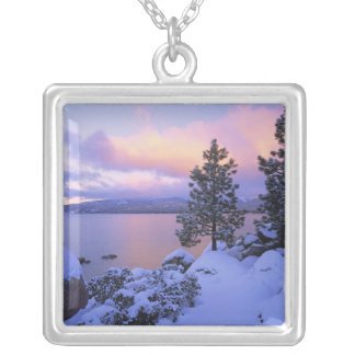 USA, California. A winter day at Lake Tahoe. Square Pendant Necklace