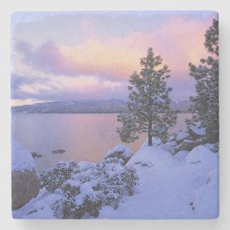 USA, California. A winter day at Lake Tahoe. Stone Beverage Coaster