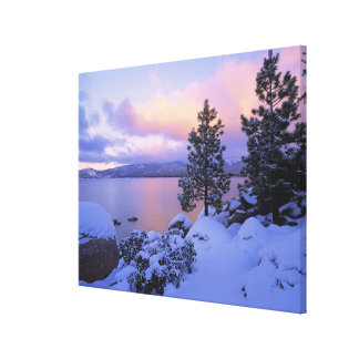 USA, California. A winter day at Lake Tahoe. Stretched Canvas Print