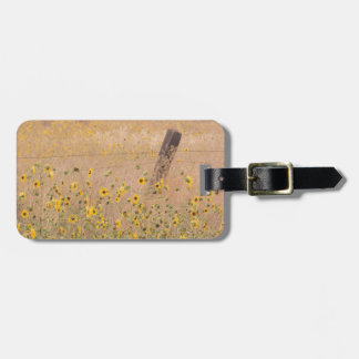 USA, California, Adin. Barbed-Wire Fence Bag Tags