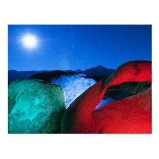 USA, California, Alabama Hills, Night photo of Postcard