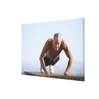 USA, California, Berkeley, Senior man exercising Stretched Canvas Prints