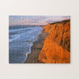 USA, California, Cliffs At Pescadero State Beach Jigsaw Puzzle