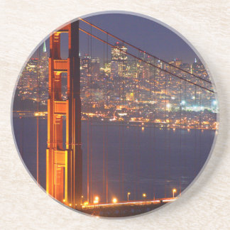 USA, California. Golden Gate Bridge At Night Coasters