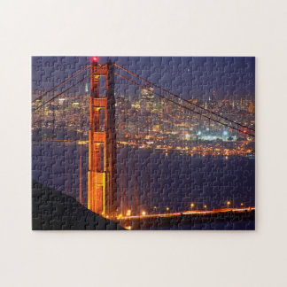 USA, California. Golden Gate Bridge At Night Jigsaw Puzzles