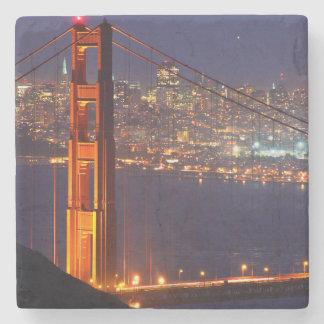 USA, California. Golden Gate Bridge At Night Stone Coaster