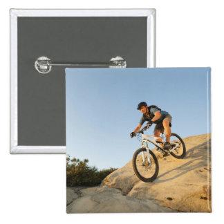 USA, California, Laguna Beach, Man cycling down 15 Cm Square Badge