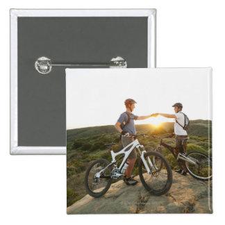 USA, California, Laguna Beach, Two bikers on 15 Cm Square Badge