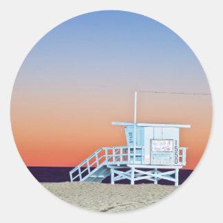 USA, California, Los Angeles, Santa Monica Beach Classic Round Sticker