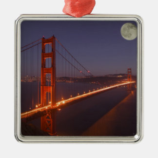 USA, California, Marin. Moonrise above the Silver-Colored Square Decoration