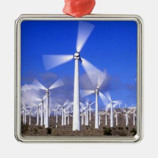 USA, California, Mojave. View of a wind turbine Silver-Colored Square Decoration