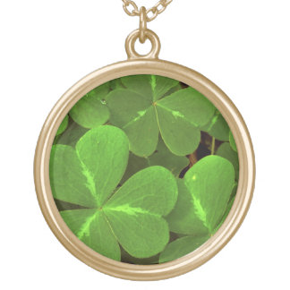 USA, California, Muir Woods. Close-up of clover Gold Plated Necklace