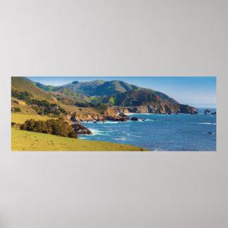 USA, California. Panorama Of Big Sur With Bixby Poster
