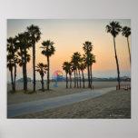 USA, California, Santa Monica Pier at sunset Poster