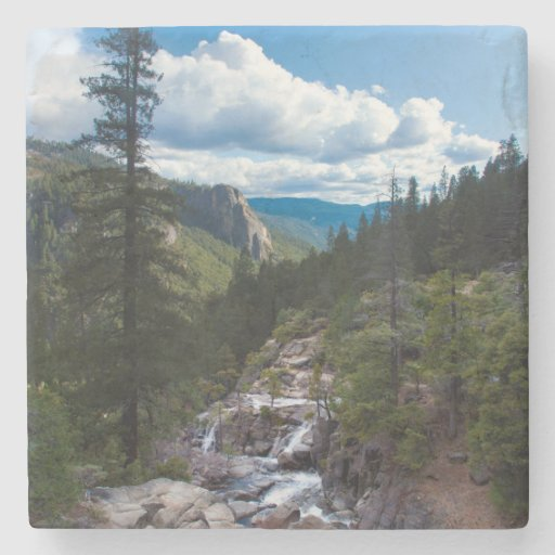 USA, California. Yosemite Valley Vista Stone Beverage Coaster