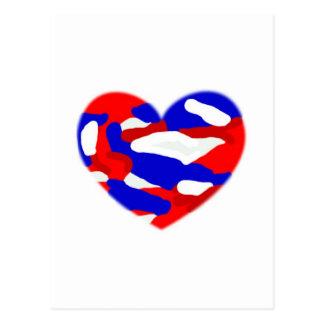 USA Camo Heart Postcard