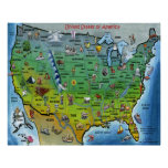 USA Cartoon Large Map Poster