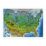 USA Cartoon Map Post Card