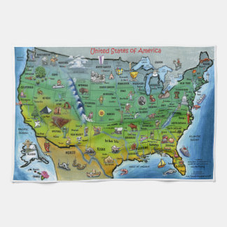 USA Cartoon Map Tea Towel