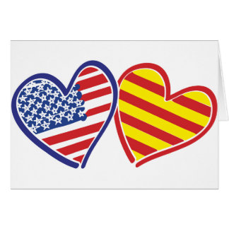 USA Catalonia Patriotic Love Hearts Card