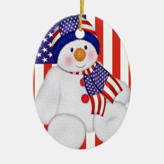USA Christmas Snowman Christmas Ornaments