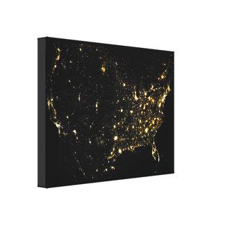 USA City Lights at Night Canvas Prints