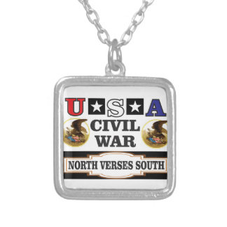 USA civil war north verses south Silver Plated Necklace
