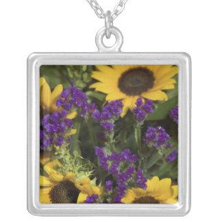 USA, close-up of bridal flower arrangement, Square Pendant Necklace