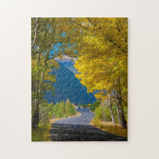 USA, Colorado. Road Flanked By Aspens Jigsaw Puzzle