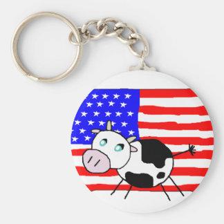 USA Cow Keychain