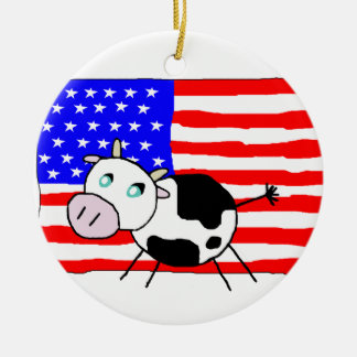 USA Cow Ornament