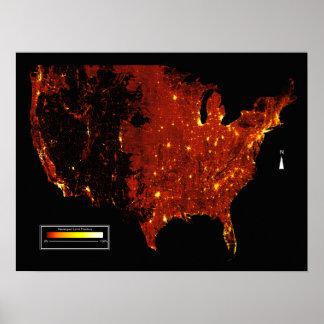 USA Developed Fraction Map Poster