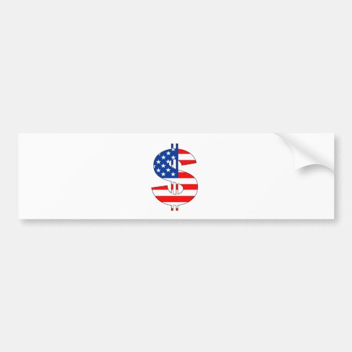 usa dollar symbol money sign bumper stickers