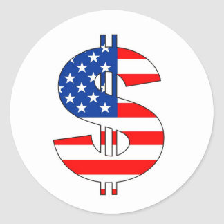 usa dollar symbol money sign classic round sticker