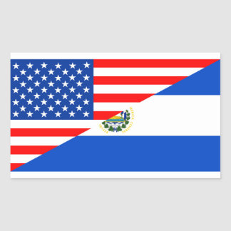 usa el salvador country half flag america symbol rectangular sticker