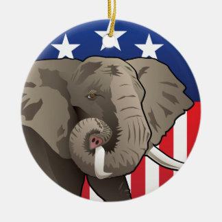 USA Elephant Ceramic Ornament