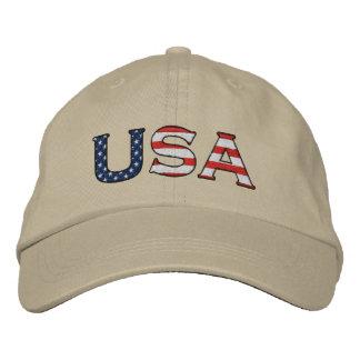 USA Embroidered Stars & Stripes Hat (Khaki)