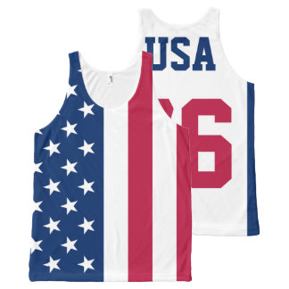 USA Est. 1776 American Flag All-Over Print Singlet