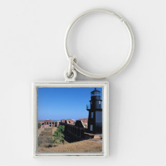 USA, FL, Florida Keys, Fort Jefferson, 1846, 2 Silver-Colored Square Key Ring