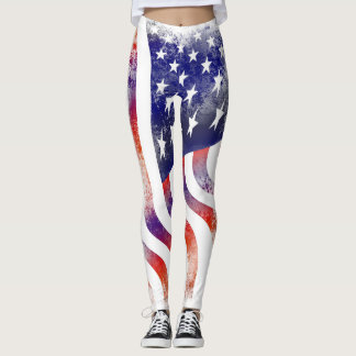 USA Flag 4th of july Leggings