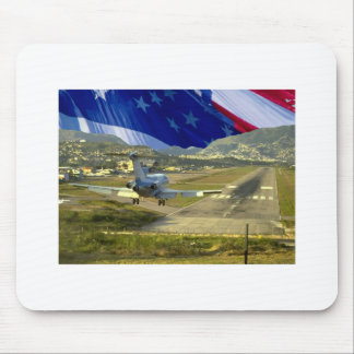USA Flag Airliner Mouse Pad