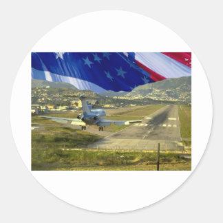 USA Flag Airliner Round Sticker